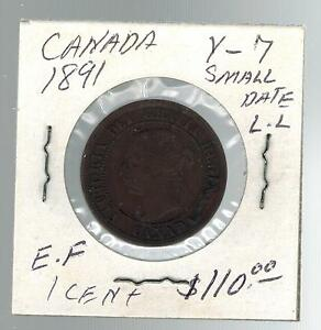 1891-Canada-One-Cent-large-Penny-coin-Y-7-Small-Date-LL
