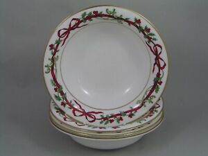 SET-OF-FOUR-ROYAL-WORCESTER-HOLLY-RIBBONS-6-3-4-034-17CM-CEREAL-BOWLS