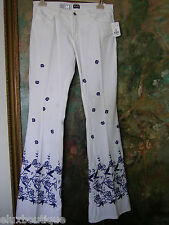 DOLCE & GABBANA White Cotton PANTS 29 JEANS Slacks Trousers Embroidered NEW $498