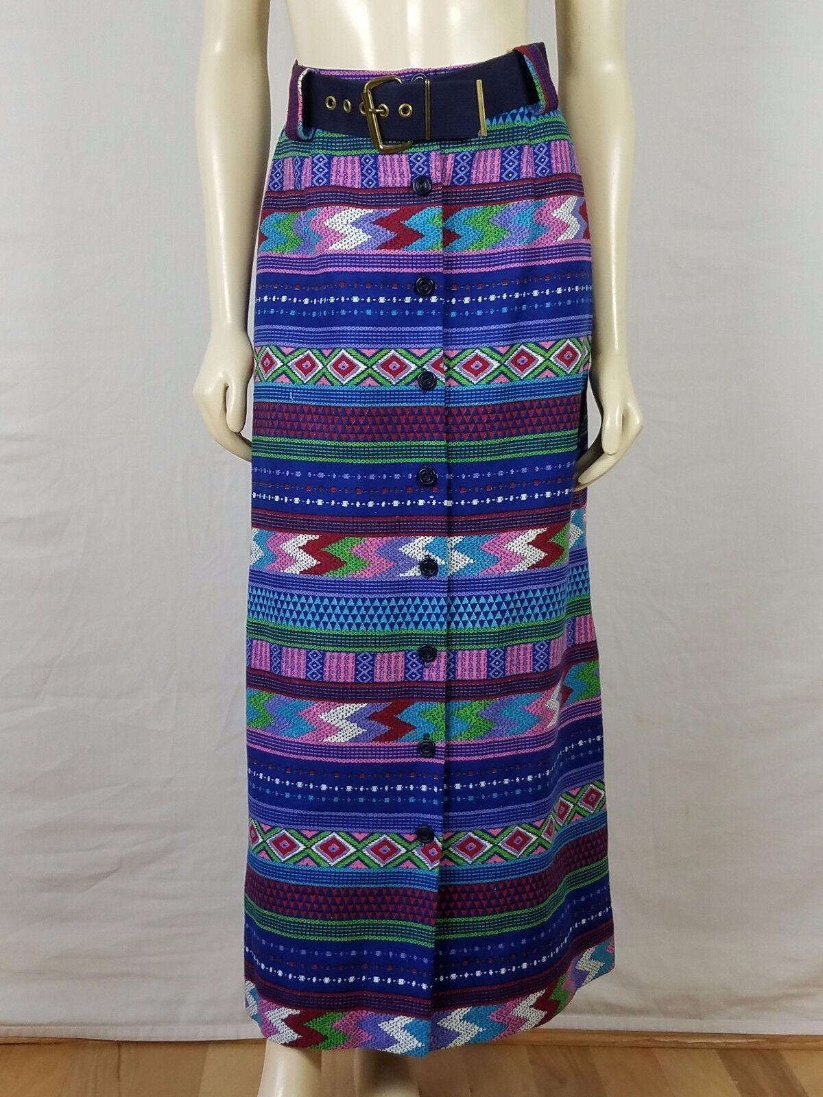 Vintage PRESTIGE OF BOSTON Maxi Multi-colord Bohemian skirt Size XS 23 Waist