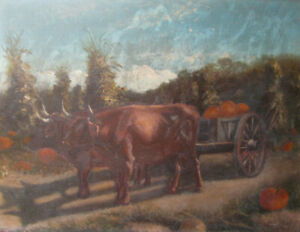 c1870s-OXEN-w-PUMPKIN-WAGON-Oil-Painting-on-Board-FARM-HARVESTING-COWS-antique