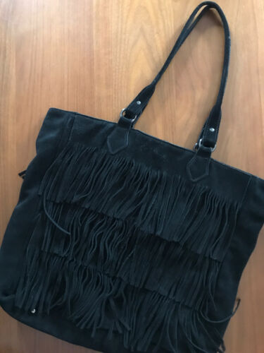 Haute Hippie Genuine Suede Fringe Bag-Black-15Hx15