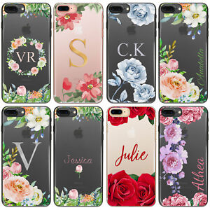 best sneakers 91700 74e7b Details about PERSONALISED INITIALS FLOWER CLEAR HARD PHONE CASE FOR SONY  XPERIA L1/L2/X/XA/XZ
