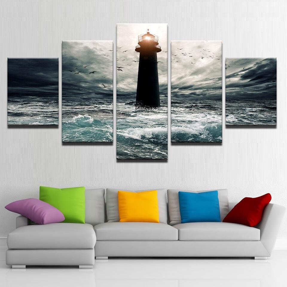 Lighthouse Seagulls Flying Birds 5 Piece Canvas Print Wall Art