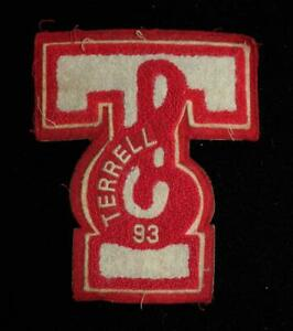 """VINTAGE 1993 SCHOOL BAND LETTER RED AND WHITE PATCH 5 1/2"""" X 6 1/2"""""""