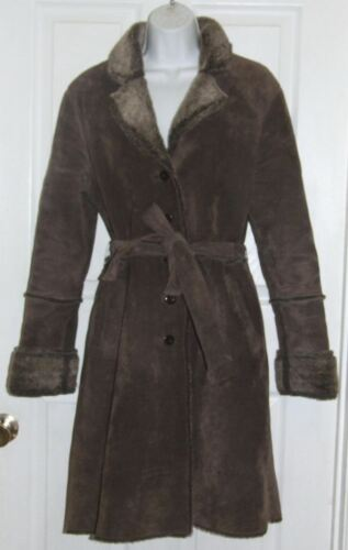 fourrure en bordure taille daim manteau M en express Long marron avec fausse 0zApxqSw
