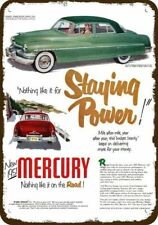 CHRISTMAS WREATH /& FAMILY 1947 MERCURY RED CAR Vintage Look REPLICA METAL SIGN