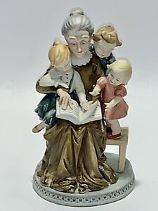 Fabulous Vintage Lefton China Bisque Porcelain Grandma Hand Painted Figurine