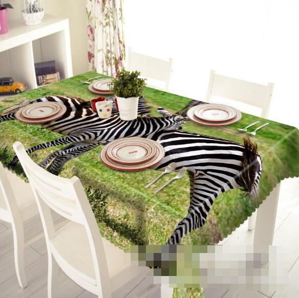3D Lawn Zebras 55 Tablecloth Table Cover Cloth Birthday Party Event AJ WALLPAPER
