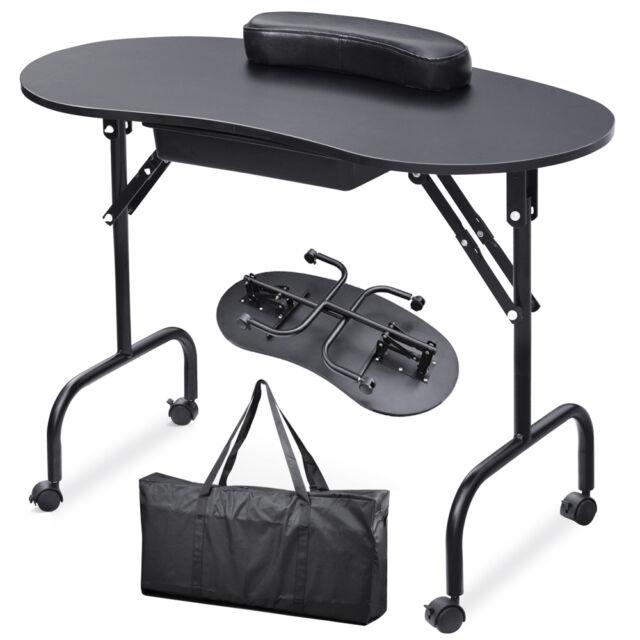 Foldable Portable Manicure Nail Art Salon Table Desk Station Hand Cushion Black
