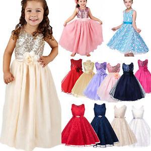 53b8df66fadef2 Das Bild wird geladen Kinder-Maedchen-Fest-kleid -Tuell-Abendkleid-Prinzessin-Kleider-