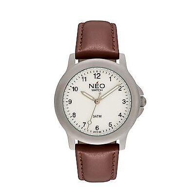 NEO watch PURE SILVER Damenuhr Armbanduhr Lederarmband Quarz silber N5-005