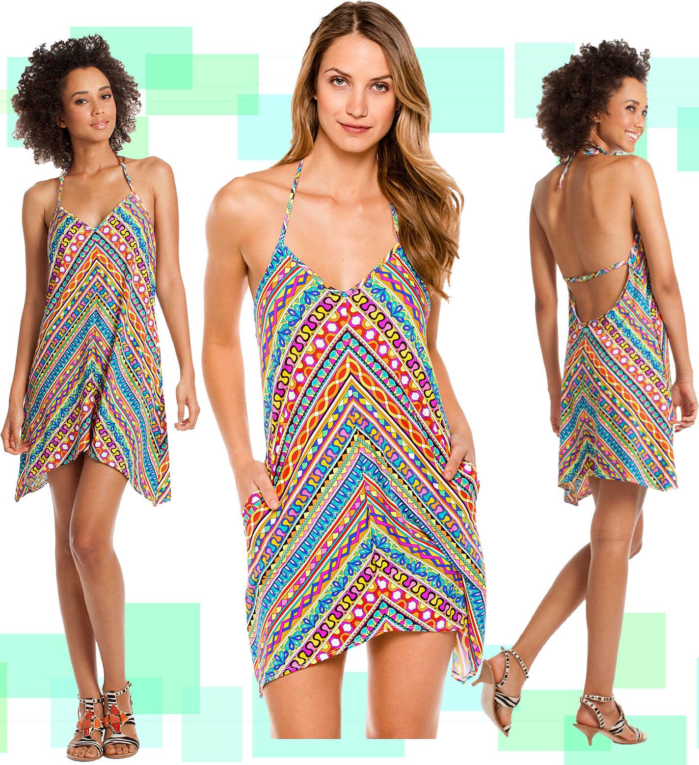 144 Trina Turk Peruvian Stripe Geometric Stretch Halter   Cover Up Dress