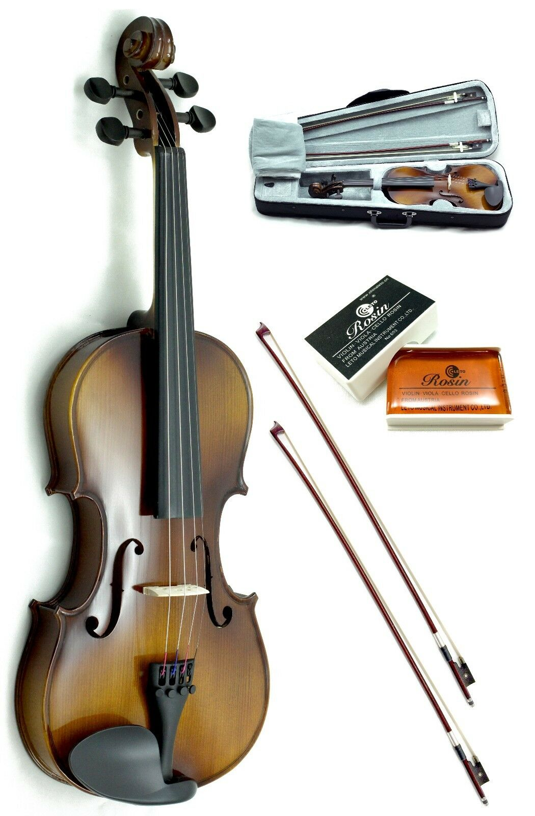 New 4 4 Full Size Solid Wood Violin w Rosin, Lightweight Case+Extra Bow