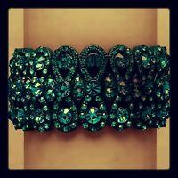 Bridal Formal Party Teal Blue Green Crystal Stretch Bangle Costume Bracelet