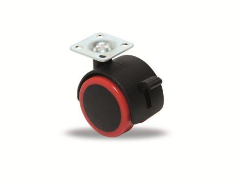 Lenk-Doppel-Laufrolle Ø 50 mm mit Bremse rot//schwarz