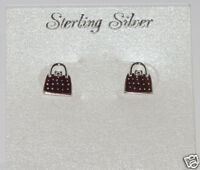 Sterling Silver 9mm Burgundy Purse Stud Earrings Hand Painted Enamel Shopping