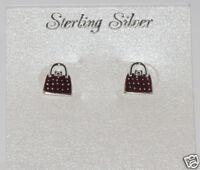 Sterling Silver 9mm Burgundy Purse Stud Earrings Hand Painted Enamel Shopping