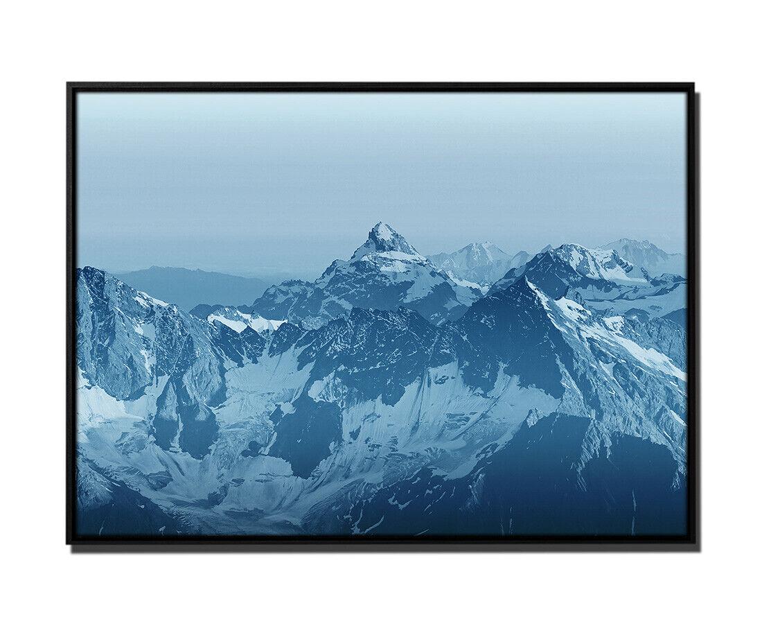 105x75cm Leinwandbild Petrol Landschaft Berge malerische Alp