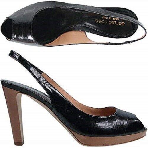 per il commercio all'ingrosso Sergio Rossi Original sandali donna ladies ladies ladies Dimensione 39 pelle anguilla nero nero eel  vendita scontata