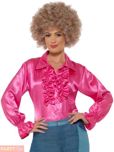 Mesdames Hippie Satin Ruffle Shirt Adultes 60 s 70 S Hippie Déguisement Femme Costume