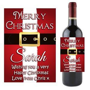 Personnalisé Noël Vin Bouteille de Champagne étiquettes pour lui son Secret Santa