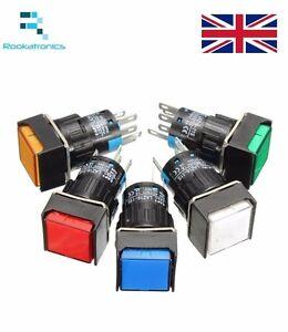12V-24V-220v-16mm-Momentaneo-Pulsador-5-Pines-Interruptor-Blanco-Rojo-Verde-Azul