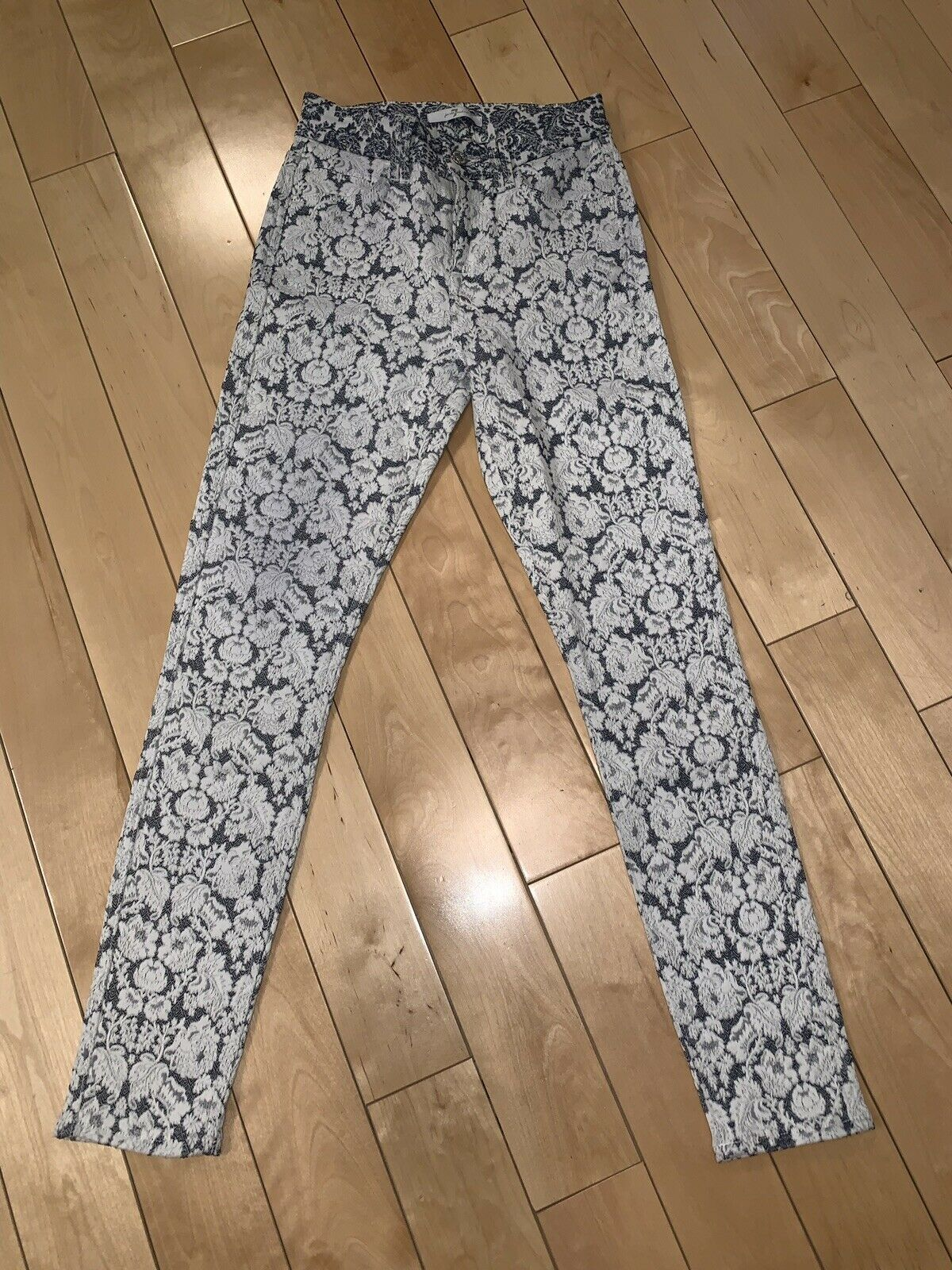 7 jeans for all mankind Skinny Pants,  White Anf bluee, Size 25 With Small Waist