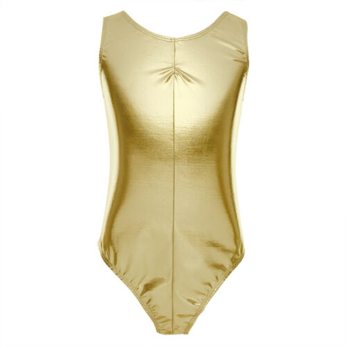 Kids Girls Stretch Gymnastics Costumes Shiny Tank Top Leotard Ballet Dance Wear