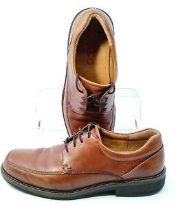 ECCO-Holton-Oxford-Mens-EUR-Sz-43-US-9-9-5-Brown-Leather-Apron-Toe-Lace-Up-Shoes