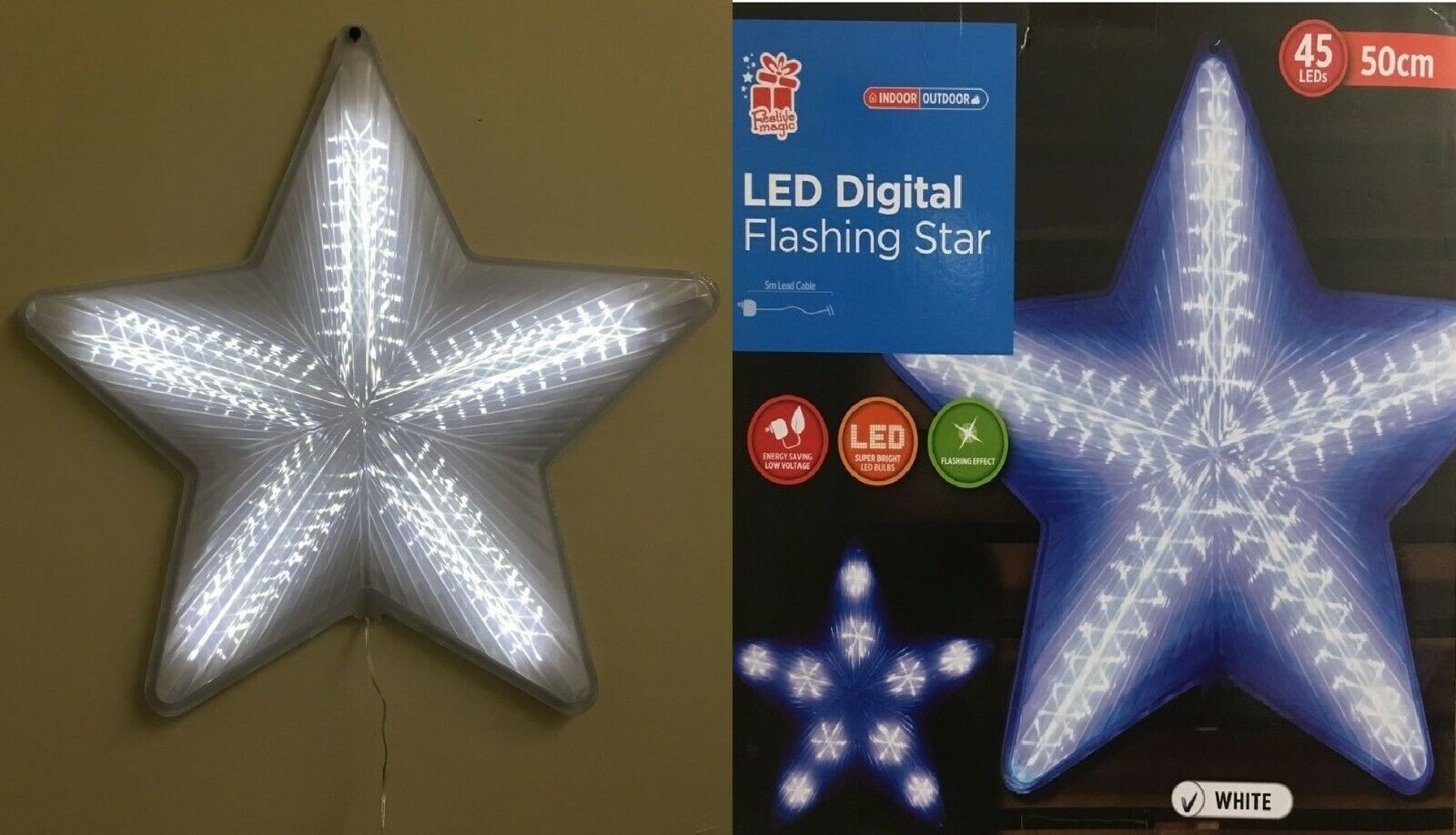 50CM Weiß  Digital FLASHING Farbe STAR WITH 45LED LIGHTS INDOOR OUT DOOR XMAS