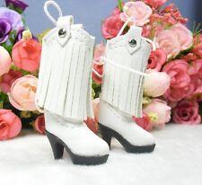 Blythe Pullip Momoko Obitsu Doll Shoes PU Leather Tessel High Heel Boots White