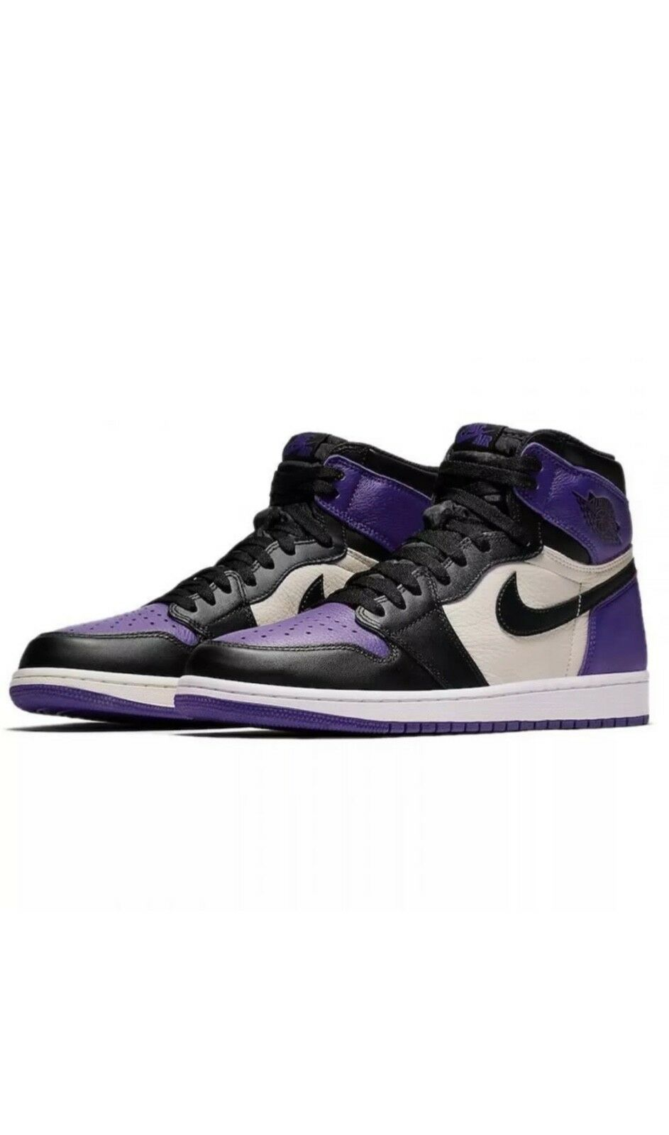 AIR JORDAN 1 RETRO HIGH OG 555088-501  COURT PURPLE  Black Sail Men's Size 10 Us
