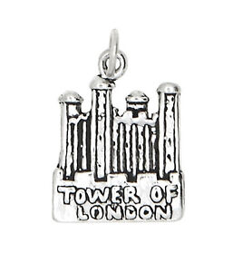STERLING SILVER HISTORIC CASTLE TOWER OF LONDON TRAVEL CHARM or PENDANT