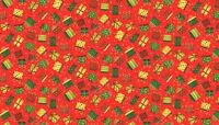 """Christmas Novelty Presents RED 100% cotton fabric Size 22"""" x18"""" larger available"""