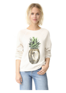 3444df7f94543 Wildfox Couture Women s White Party Pineapple Sweatshirt Size X ...