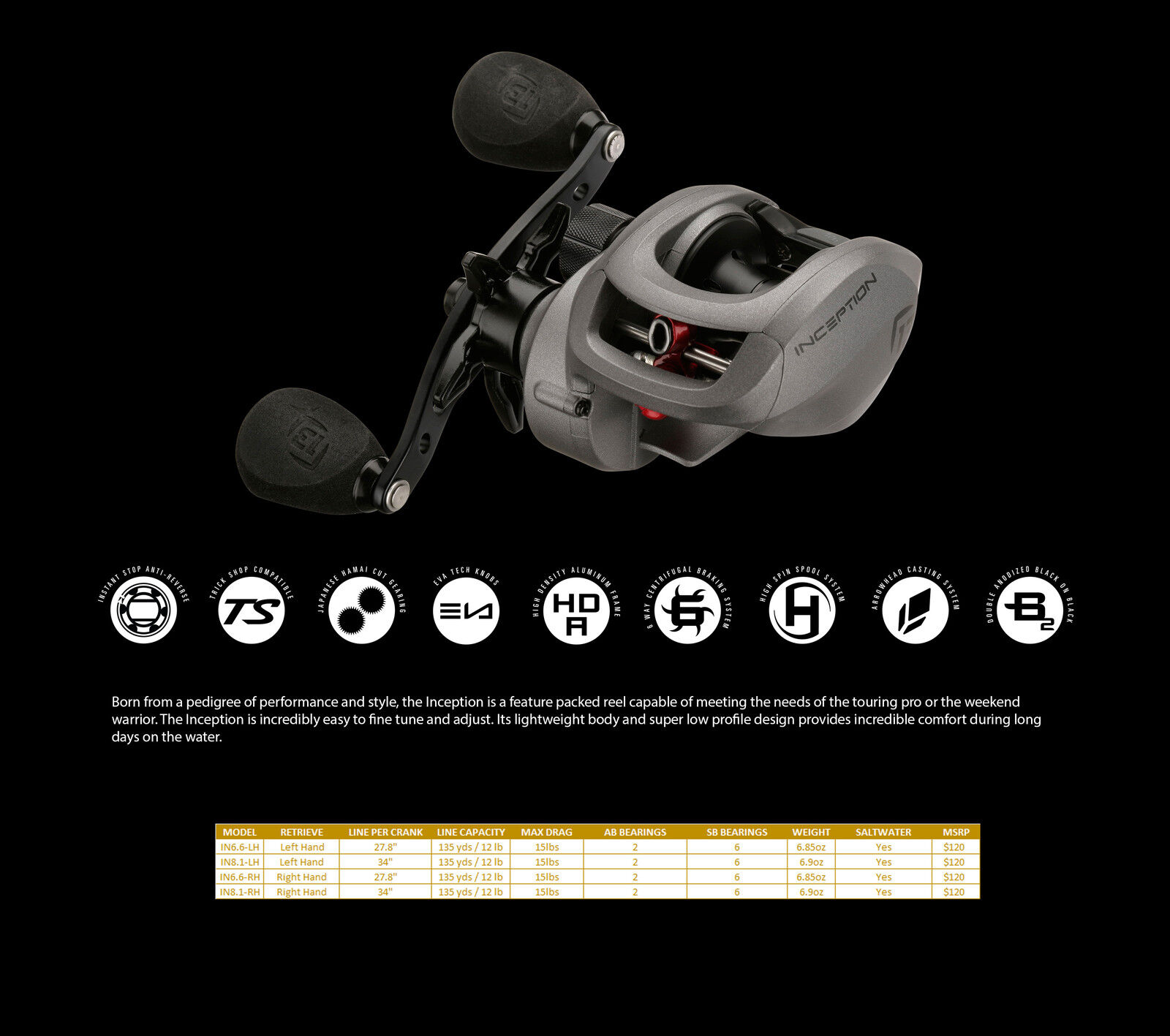 13 Fishing Inception Baitcasting  Reels - LH or RH - Choose Ratio FREE SHIPPING  preferential