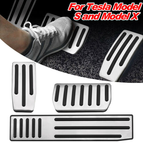 3Pcs For Tesla Model S/&X Non-Slip Aluminum Accelerator Brake Foot Rest Pedal Pad