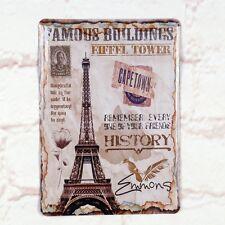Eiffel Tower Poster Tin Antique Metal Signs Home Pub Bar Wall Decor