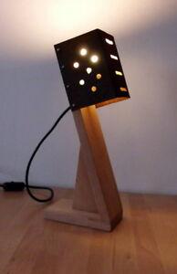 Lampada Da Tavolo Design Artigianale Legno E Metallo Ebay