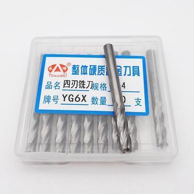 """KLOT 10pcs Solid Carbide End Mill 3.175mm 1//8/"""" Shank 2-Flute CNC K10 Router Bit"""