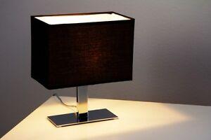 Bajour lampada da comodino da tavolo metallo cromo tessuto nero