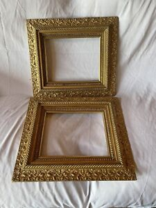 """2 ANTIQUE FITS 8"""" X 10""""  GOLD GILT ORNATE WOOD PICTURE FRAME ART VICTORIAN"""