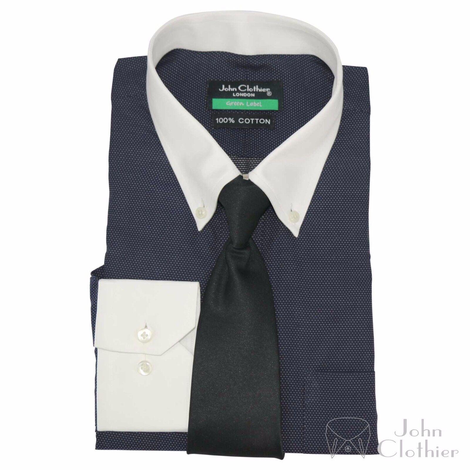 Hemd mit Knöpfkragen Herren Bankier Formell Büro marineblau blau gepunktet