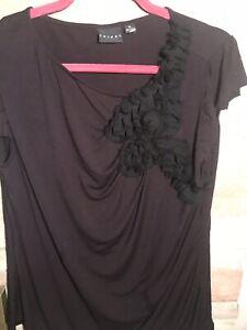 Tribal-Career-Womens-Blouse-Size-XL-Black-Short-Sleeve