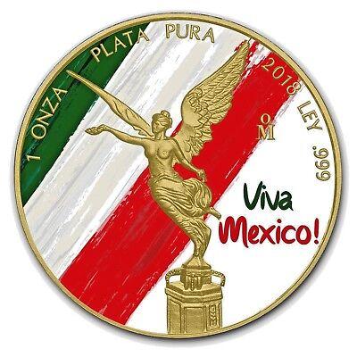 24Kt Gold Gilded. 2018 Mexico FELIZ NAVIDAD LIBERTAD 1 Oz Silver Coin