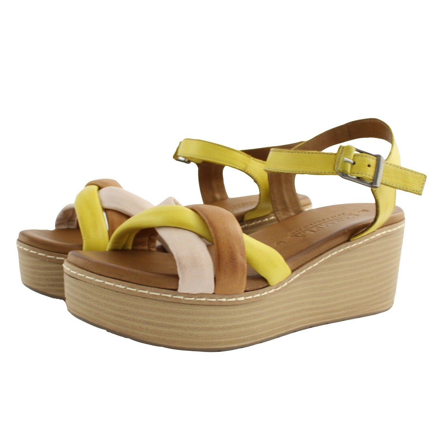 Shoes Sandals Summer Carmela Womens Brown Leather Yellow Leather Wedge Comfortable