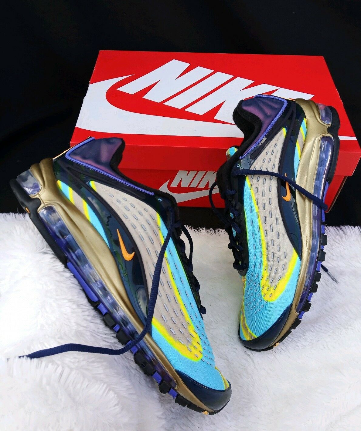 10 MEN'S Nike Air Max Deluxe OG 2018 Midnight Navy gold Multicolor AJ7831-400