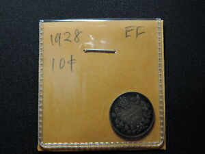 1928-10-Cent-Coin-Canada-George-V-Ten-Cents-925-Silver-EF-Grade