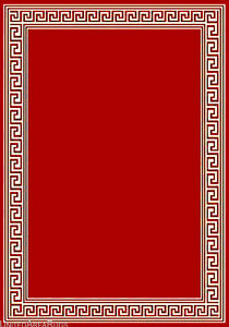 5x7 Area Rug Modern Greek Key Design Solid Red Carpet With